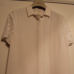 Burberry blouse, white, short lace sleeves, sz 6
